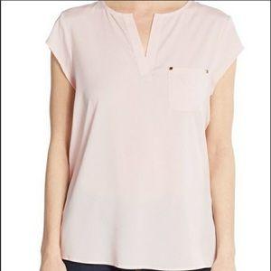 Ivanka Trump Short Sleeve Blouse blush pink small